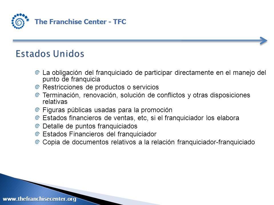 La obligación del franquiciado de participar directamente en el manejo del punto de franquicia Restricciones de productos o servicios Terminación, ren
