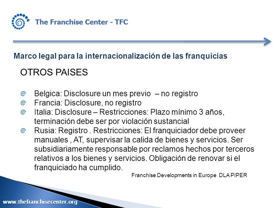 Marco legal para la internacionalización de las franquicias OTROS PAISES Belgica: Disclosure un mes previo – no registro Francia: Disclosure, no regis