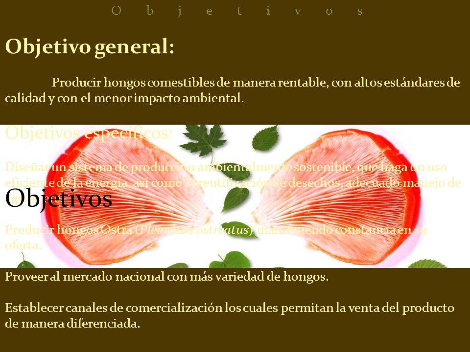 Objetivo general: Producir hongos comestibles de manera rentable, con altos estándares de calidad y con el menor impacto ambiental. Objetivos específi