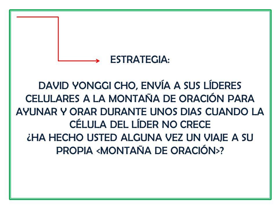 ESTRATEGIA: DAVID YONGGI CHO, ENVÍA A SUS LÍDERES CELULARES A LA MONTAÑA DE ORACIÓN PARA AYUNAR Y ORAR DURANTE UNOS DIAS CUANDO LA CÉLULA DEL LÍDER NO