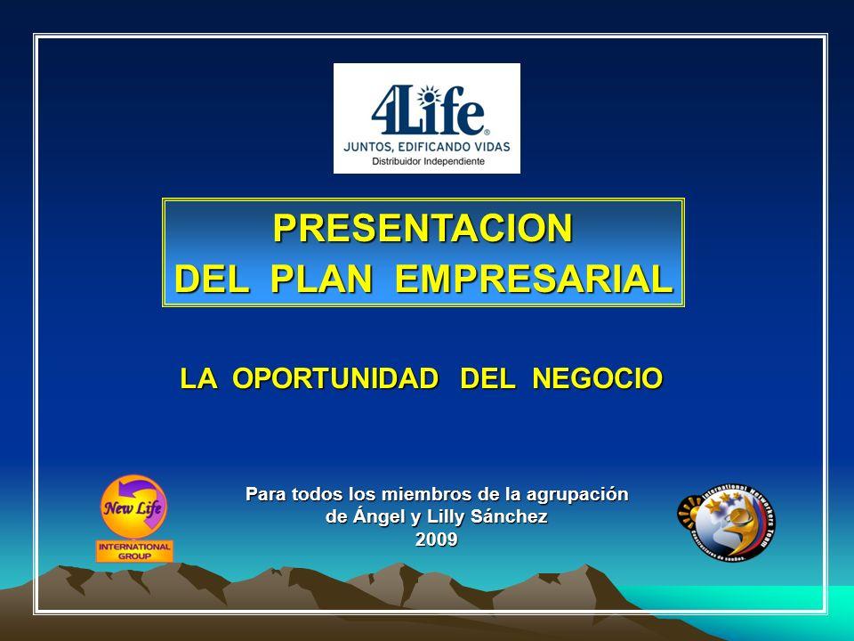 PRESENTACION DEL PLAN EMPRESARIAL LA OPORTUNIDAD DEL NEGOCIO Para todos los miembros de la agrupación de Ángel y Lilly Sánchez 2009