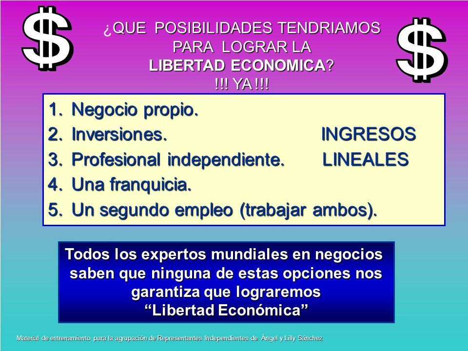 QUE POSIBILIDADES TENDRIAMOS ¿QUE POSIBILIDADES TENDRIAMOS PARA LOGRAR LA LIBERTAD ECONOMICA? !!! YA !!! 1.Negocio propio. 2.Inversiones. INGRESOS 3.P