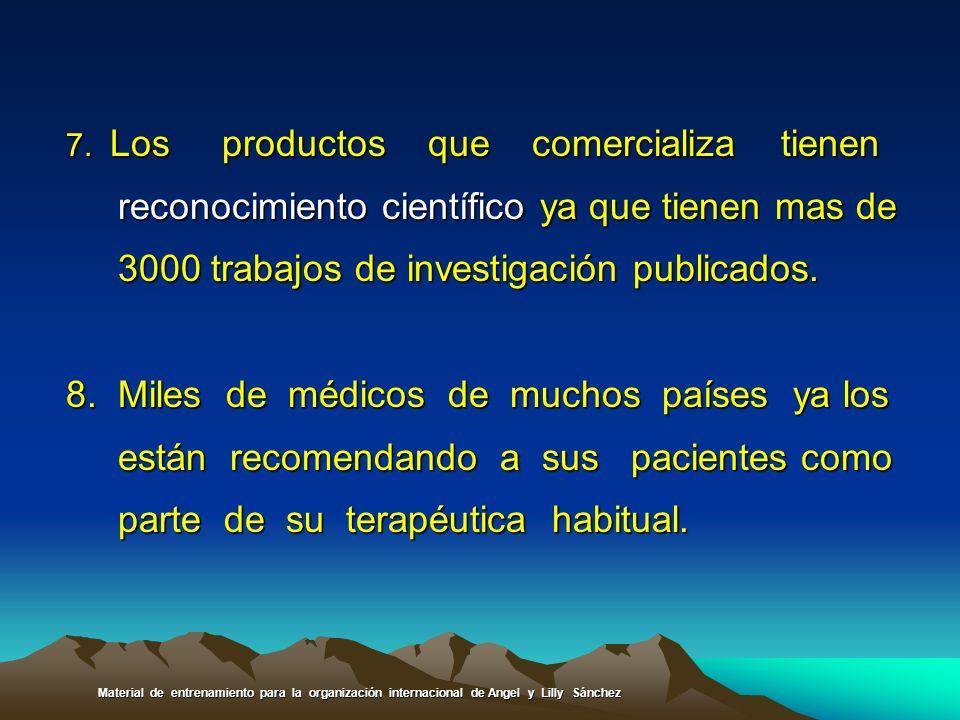 7. Los productos que comercializa tienen reconocimiento científico ya que tienen mas de reconocimiento científico ya que tienen mas de 3000 trabajos d