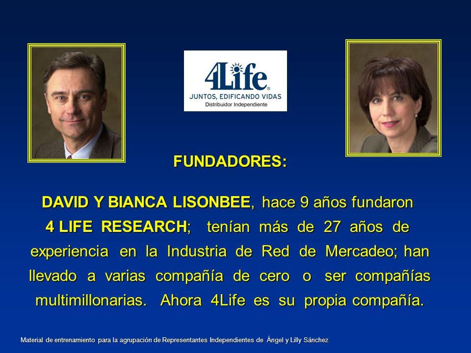 FUNDADORES: DAVID Y BIANCA LISONBEE, hace 9 años fundaron 4 LIFE RESEARCH; tenían más de 27 años de experiencia en la Industria de Red de Mercadeo; ha