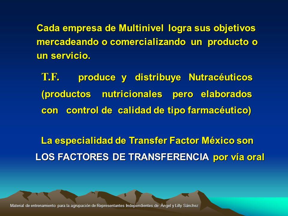 Cada empresa de Multinivel logra sus objetivos mercadeando o comercializando un producto o un servicio. T.F. produce y distribuye Nutracéuticos (produ