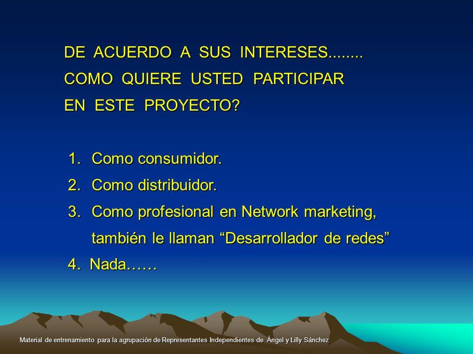 DE ACUERDO A SUS INTERESES........ COMO QUIERE USTED PARTICIPAR EN ESTE PROYECTO? 1.Como consumidor. 2.Como distribuidor. 3.Como profesional en Networ