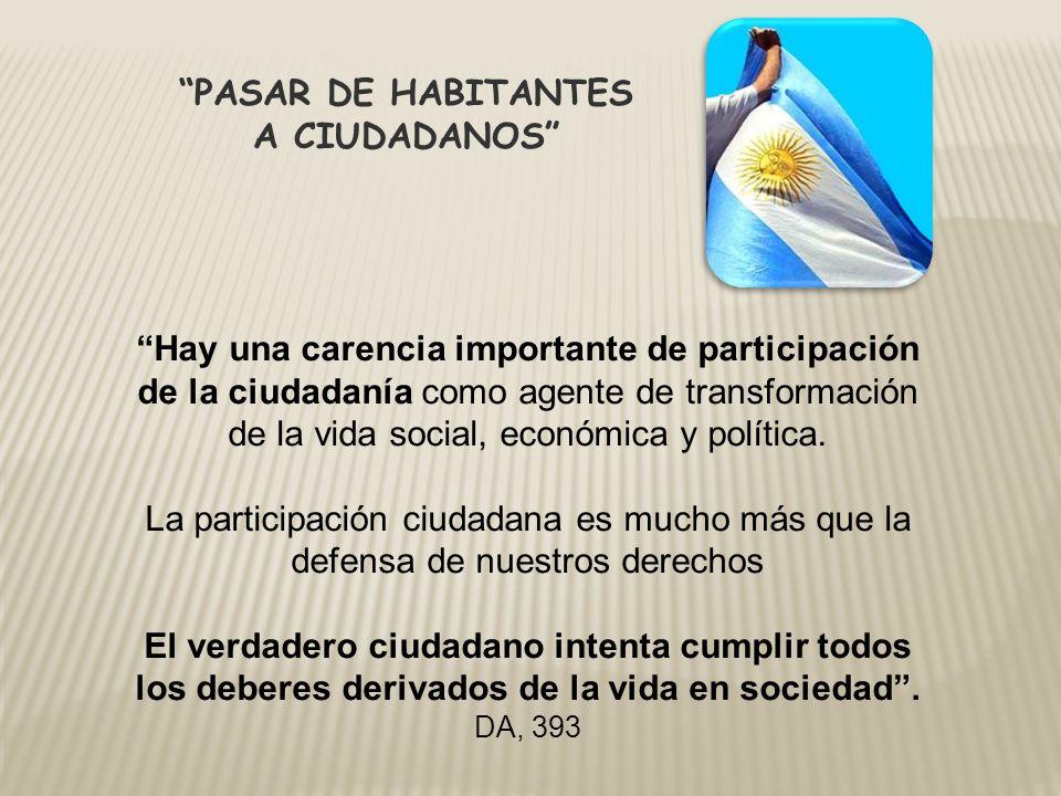 PASAR DE HABITANTES A CIUDADANOS Hay una carencia importante de participación de la ciudadanía como agente de transformación de la vida social, económ