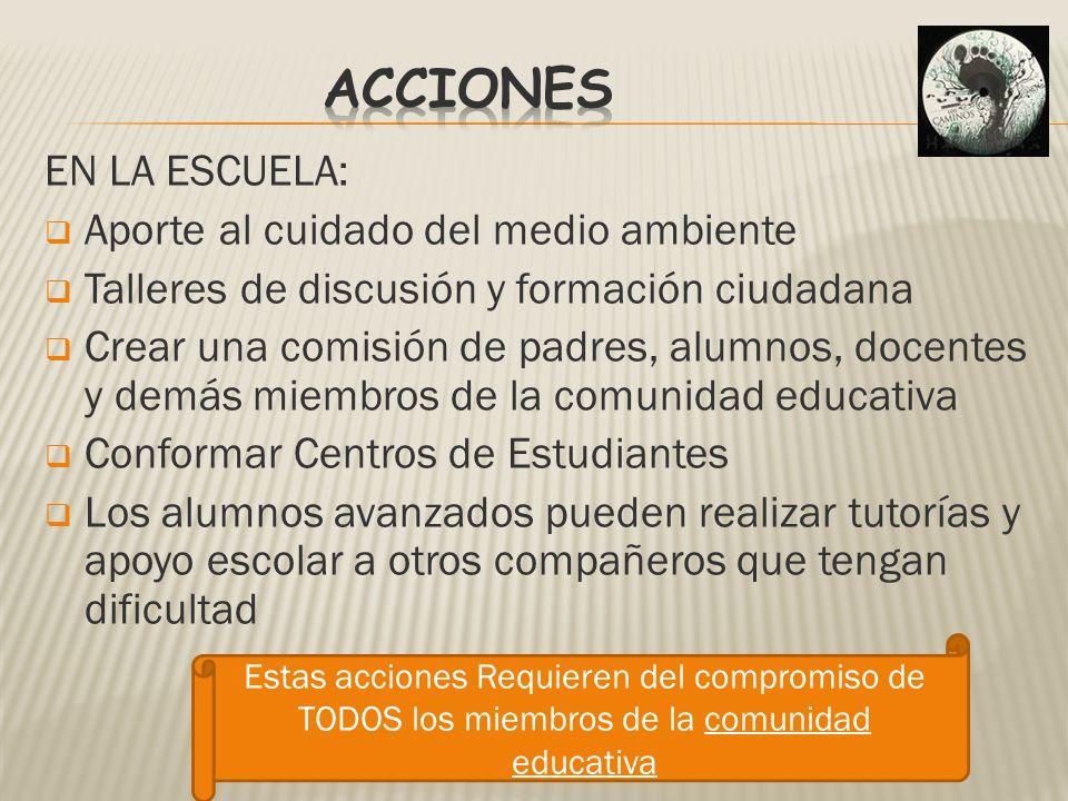 EN LA ESCUELA: Aporte al cuidado del medio ambiente Talleres de discusión y formación ciudadana Crear una comisión de padres, alumnos, docentes y demá