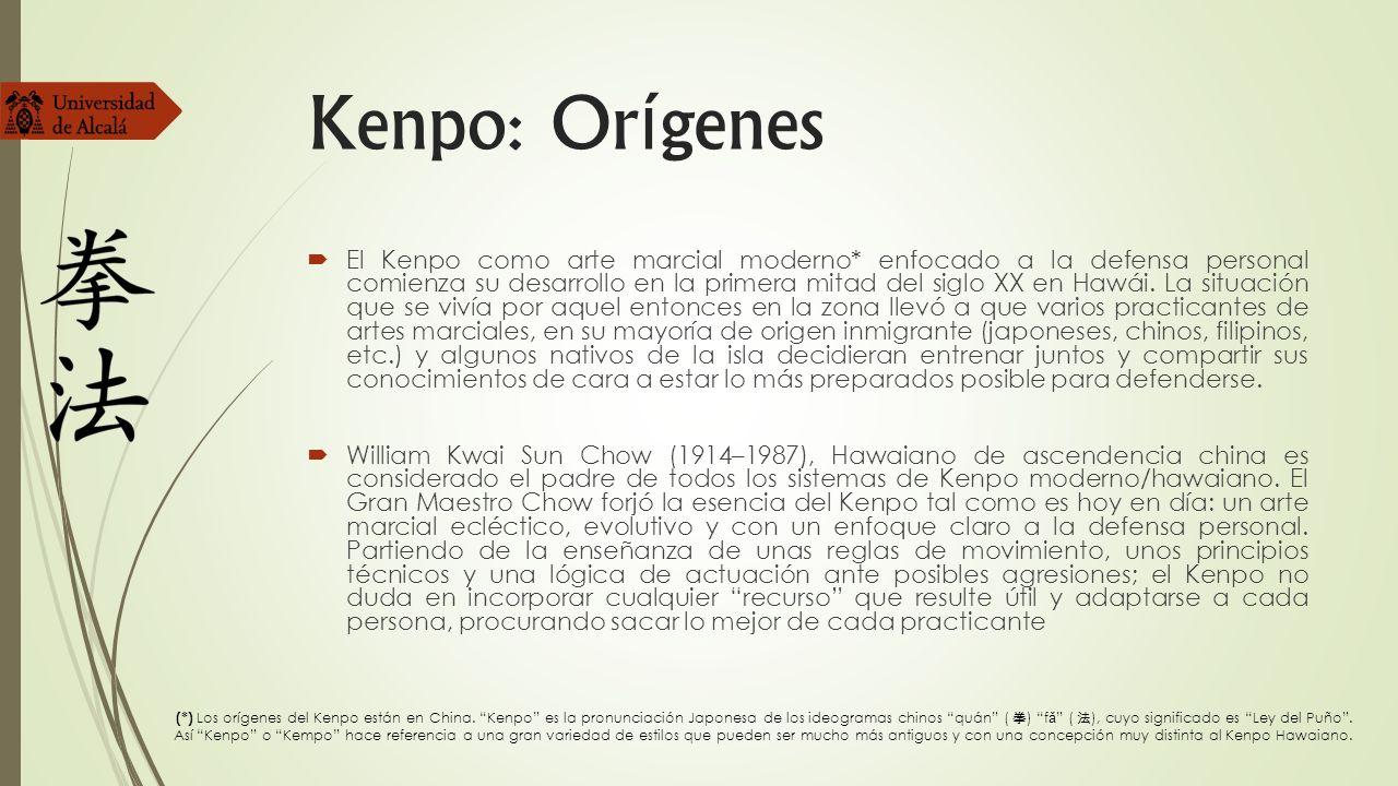 Kenpo: Or í genes El Kenpo como arte marcial moderno* enfocado a la defensa personal comienza su desarrollo en la primera mitad del siglo XX en Hawái.
