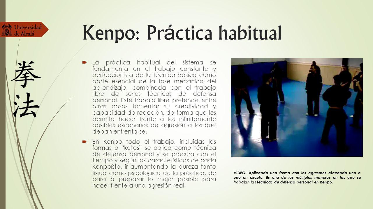 Kenpo: Pr á ctica habitual La práctica habitual del sistema se fundamenta en el trabajo constante y perfeccionista de la técnica básica como parte ese