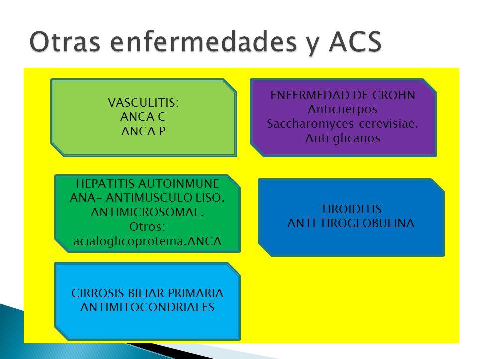 VASCULITIS: ANCA C ANCA P ENFERMEDAD DE CROHN Anticuerpos Saccharomyces cerevisiae. Anti glicanos CIRROSIS BILIAR PRIMARIA ANTIMITOCONDRIALES HEPATITI