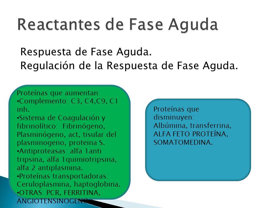 Respuesta de Fase Aguda. Regulación de la Respuesta de Fase Aguda. Proteínas que aumentan: Complemento: C3, C4,C9, C1 inh. Sistema de Coagulación y fi
