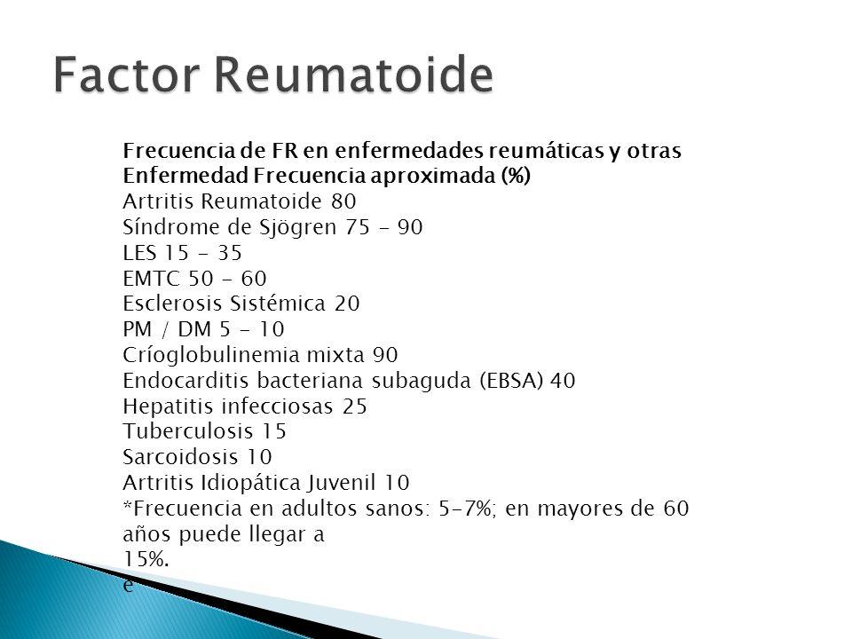 Frecuencia de FR en enfermedades reumáticas y otras Enfermedad Frecuencia aproximada (%) Artritis Reumatoide 80 Síndrome de Sjögren 75 - 90 LES 15 - 3