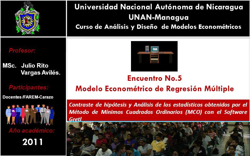 Universidad Nacional Autónoma de Nicaragua UNAN-Managua Curso de Análisis y Diseño de Modelos Econométricos Encuentro No.5 Modelo Econométrico de Regr
