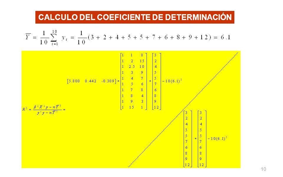 10 CALCULO DEL COEFICIENTE DE DETERMINACIÓN