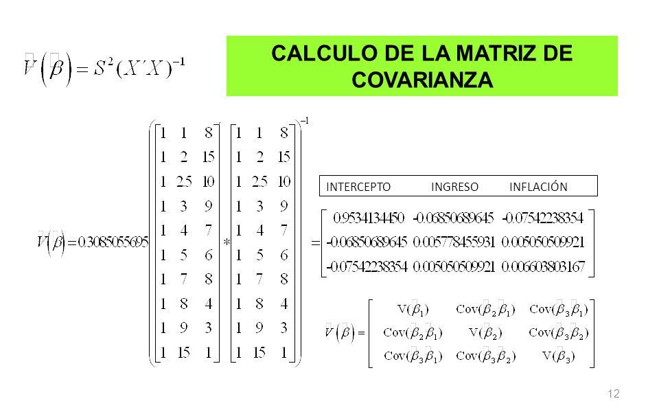 12 CALCULO DE LA MATRIZ DE COVARIANZA INTERCEPTO INGRESO INFLACIÓN