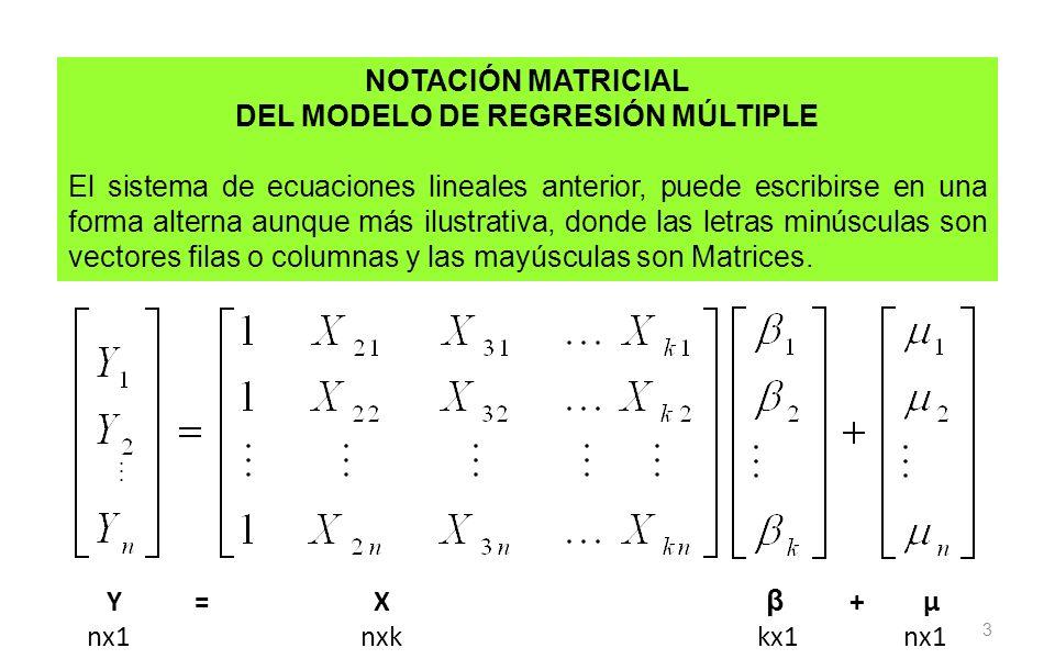 3 NOTACIÓN MATRICIAL DEL MODELO DE REGRESIÓN MÚLTIPLE El sistema de ecuaciones lineales anterior, puede escribirse en una forma alterna aunque más ilu