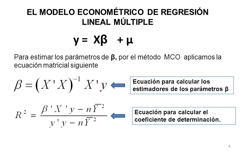 4 y = X β + μ Para estimar los parámetros de β, por el método MCO aplicamos la ecuación matricial siguiente EL MODELO ECONOMÉTRICO DE REGRESIÓN LINEAL