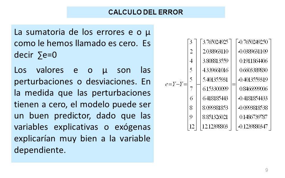 9 La sumatoria de los errores e o μ como le hemos llamado es cero. Es decir e=0 Los valores e o μ son las perturbaciones o desviaciones. En la medida