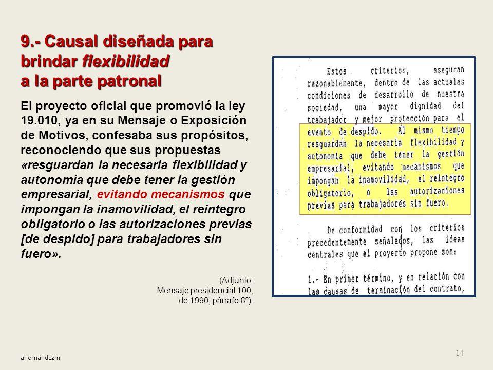 8.- Mantenimiento del libre despido patronal La causal necesidades de la empresa La causal necesidades de la empresa Así, en 1990, indicándose sustitu