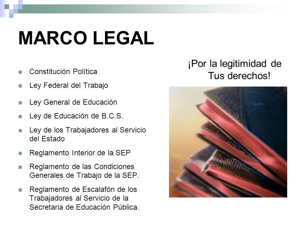 MARCO LEGAL Constitución Política Ley Federal del Trabajo Ley General de Educación Ley de Educación de B.C.S.