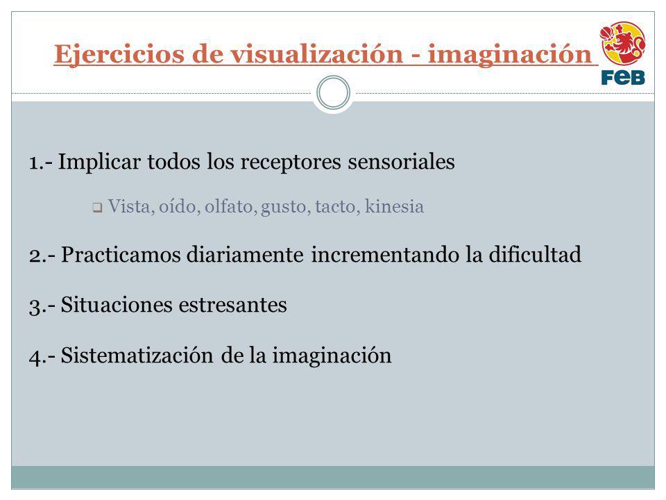 Ejercicios de visualización - imaginación I 1.- Implicar todos los receptores sensoriales Vista, oído, olfato, gusto, tacto, kinesia 2.- Practicamos diariamente incrementando la dificultad 3.- Situaciones estresantes 4.- Sistematización de la imaginación