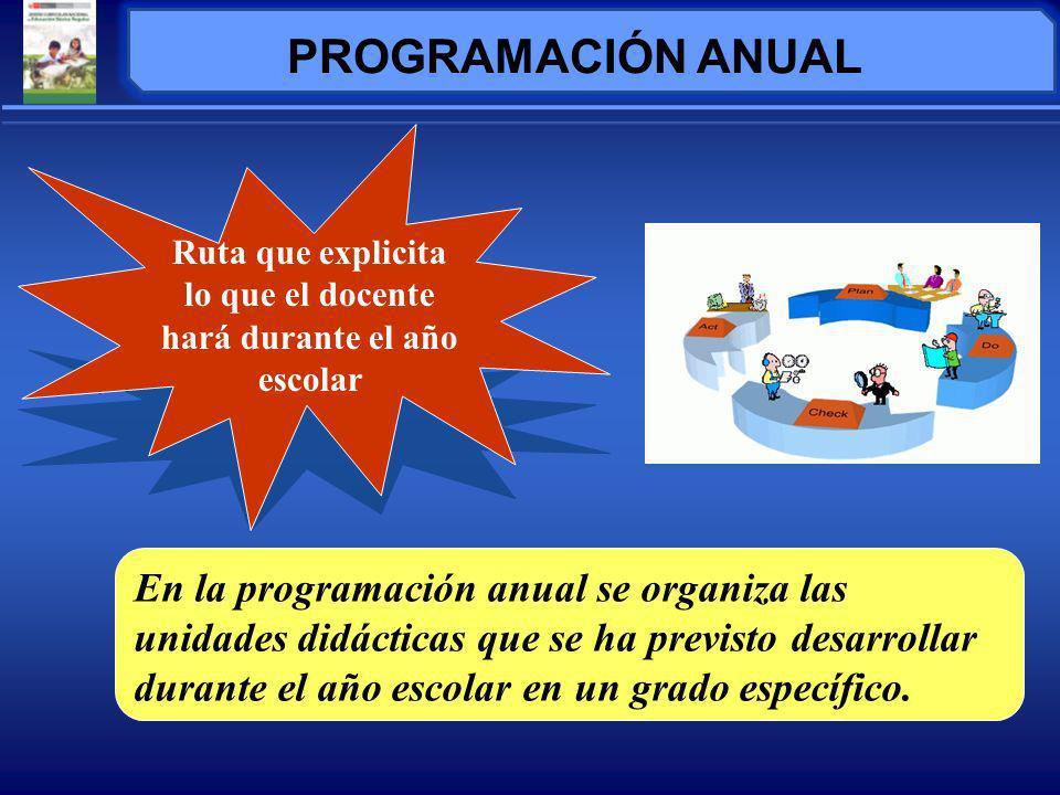 En la programación anual se organiza las unidades didácticas que se ha previsto desarrollar durante el año escolar en un grado específico.