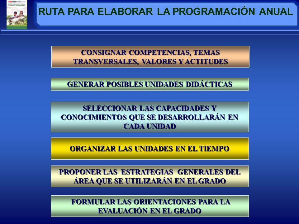 GENERAR POSIBLES UNIDADES DIDÁCTICAS PROPONER LAS ESTRATEGIAS GENERALES DEL ÁREA QUE SE UTILIZARÁN EN EL GRADO FORMULAR LAS ORIENTACIONES PARA LA EVALUACIÓN EN EL GRADO FORMULAR LAS ORIENTACIONES PARA LA EVALUACIÓN EN EL GRADO RUTA PARA ELABORAR LA PROGRAMACIÓN ANUAL SELECCIONAR LAS CAPACIDADES Y CONOCIMIENTOS QUE SE DESARROLLARÁN EN CADA UNIDAD ORGANIZAR LAS UNIDADES EN EL TIEMPO CONSIGNAR COMPETENCIAS, TEMAS TRANSVERSALES, VALORES Y ACTITUDES