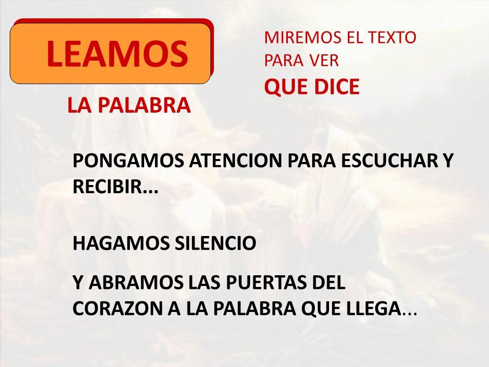 LA PALABRA LEAMOS MIREMOS EL TEXTO PARA VER QUE DICE PONGAMOS ATENCION PARA ESCUCHAR Y RECIBIR... HAGAMOS SILENCIO Y ABRAMOS LAS PUERTAS DEL CORAZON A