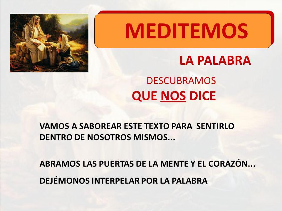 LA PALABRA MEDITEMOS DESCUBRAMOS QUE NOS DICE VAMOS A SABOREAR ESTE TEXTO PARA SENTIRLO DENTRO DE NOSOTROS MISMOS... ABRAMOS LAS PUERTAS DE LA MENTE Y