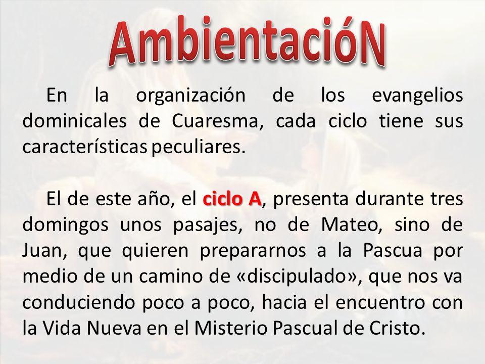 En la organización de los evangelios dominicales de Cuaresma, cada ciclo tiene sus características peculiares. ciclo A El de este año, el ciclo A, pre
