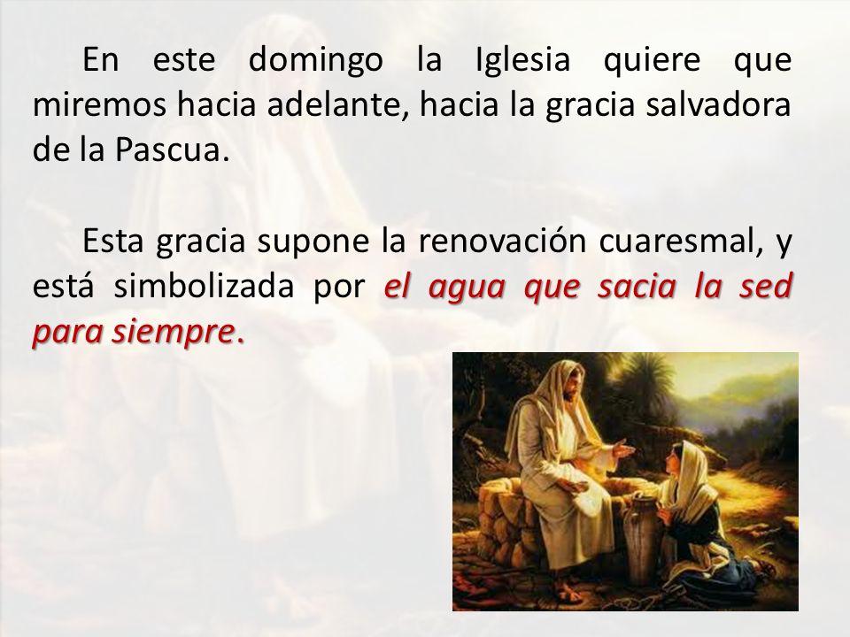DOMINGOS DE CUARESMA ciclo A CAMINO hacia la PASCUA ITINERARIO DE MATEO Dom1 o - Jesús es tentado como nosotros Dom2 o - Jesús Transfigurado es la nueva Alianza LUZ DEL MUNDO Dom4 o - Jesús es la LUZ DEL MUNDO (Ciego de nacimiento) LA VIDA Dom5 o - Jesús es LA VIDA (Lázaro) AGUA VIVA Dom3 o - JESUS es el AGUA VIVA (Samaritana)