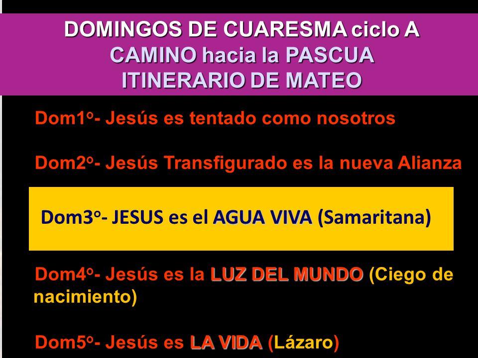 DOMINGOS DE CUARESMA ciclo A CAMINO hacia la PASCUA ITINERARIO DE MATEO Dom1 o - Jesús es tentado como nosotros Dom2 o - Jesús Transfigurado es la nue
