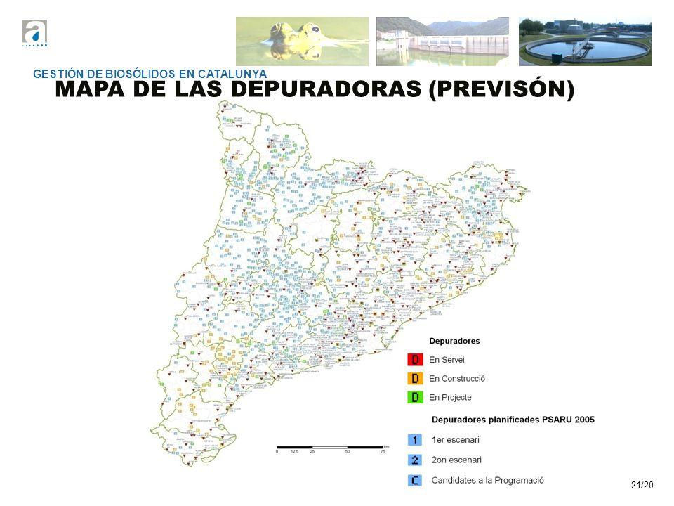21/20 MAPA DE LAS DEPURADORAS (PREVISÓN) GESTIÓN DE BIOSÓLIDOS EN CATALUNYA