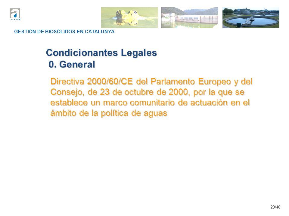 23/40 GESTIÓN DE BIOSÓLIDOS EN CATALUNYA Condicionantes Legales 0. General 0. General Directiva 2000/60/CE del Parlamento Europeo y del Consejo, de 23