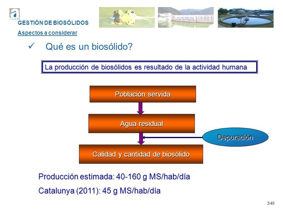 3/40 Qué es un biosólido? La producción de biosólidos es resultado de la actividad humana Población servida Agua residual Calidad y cantidad de biosól