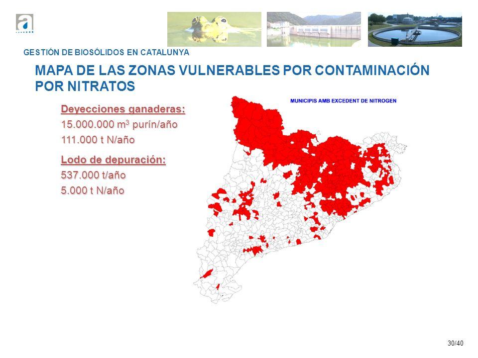 30/40 GESTIÓN DE BIOSÓLIDOS EN CATALUNYA MAPA DE LAS ZONAS VULNERABLES POR CONTAMINACIÓN POR NITRATOS Deyecciones ganaderas: 15.000.000 m 3 purín/año 111.000 t N/año Lodo de depuración: 537.000 t/año 5.000 t N/año