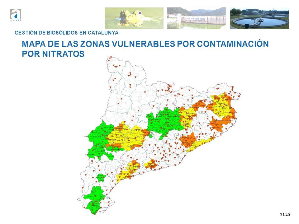 31/40 GESTIÓN DE BIOSÓLIDOS EN CATALUNYA MAPA DE LAS ZONAS VULNERABLES POR CONTAMINACIÓN POR NITRATOS