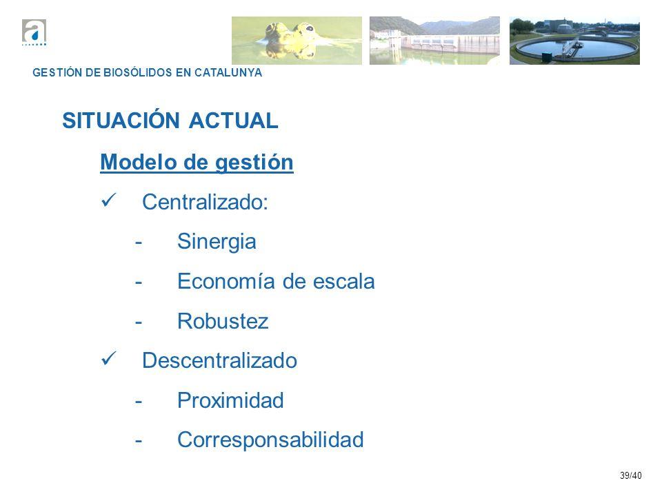 39/40 GESTIÓN DE BIOSÓLIDOS EN CATALUNYA SITUACIÓN ACTUAL Modelo de gestión Centralizado: -Sinergia -Economía de escala -Robustez Descentralizado -Proximidad -Corresponsabilidad