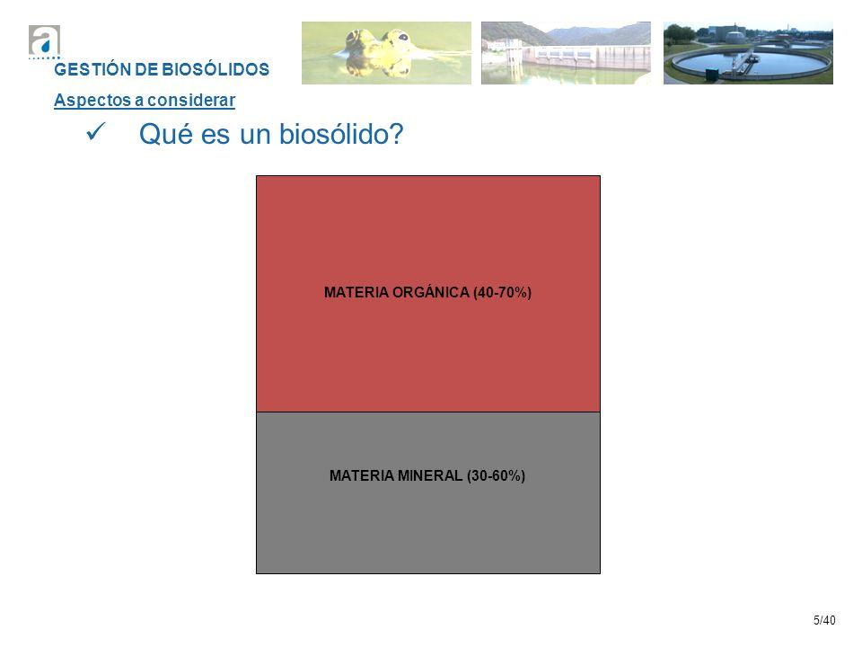 5/40 MATERIA ORGÁNICA (40-70%) Qué es un biosólido? MATERIA MINERAL (30-60%) GESTIÓN DE BIOSÓLIDOS Aspectos a considerar
