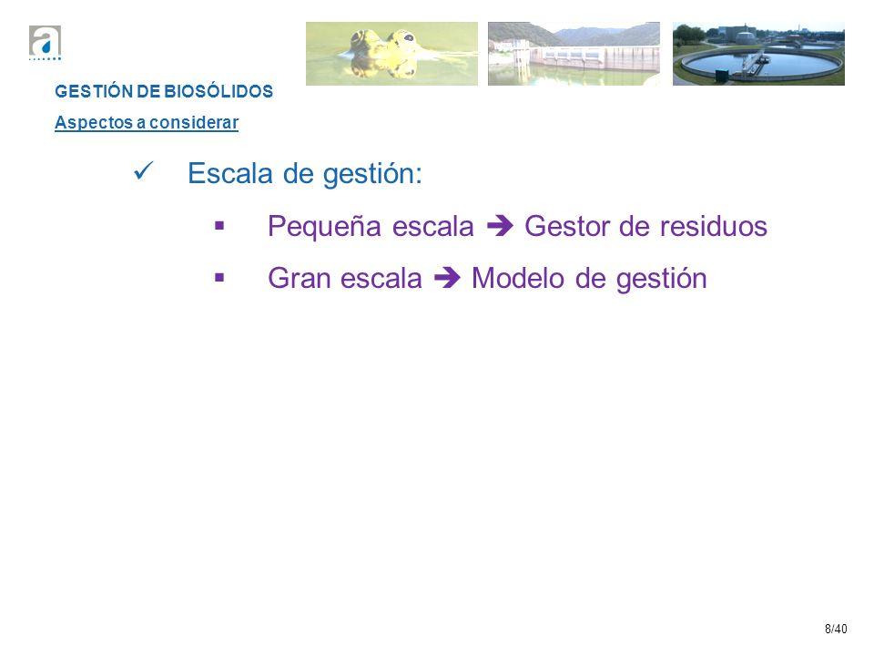 8/40 GESTIÓN DE BIOSÓLIDOS Aspectos a considerar Escala de gestión: Pequeña escala Gestor de residuos Gran escala Modelo de gestión