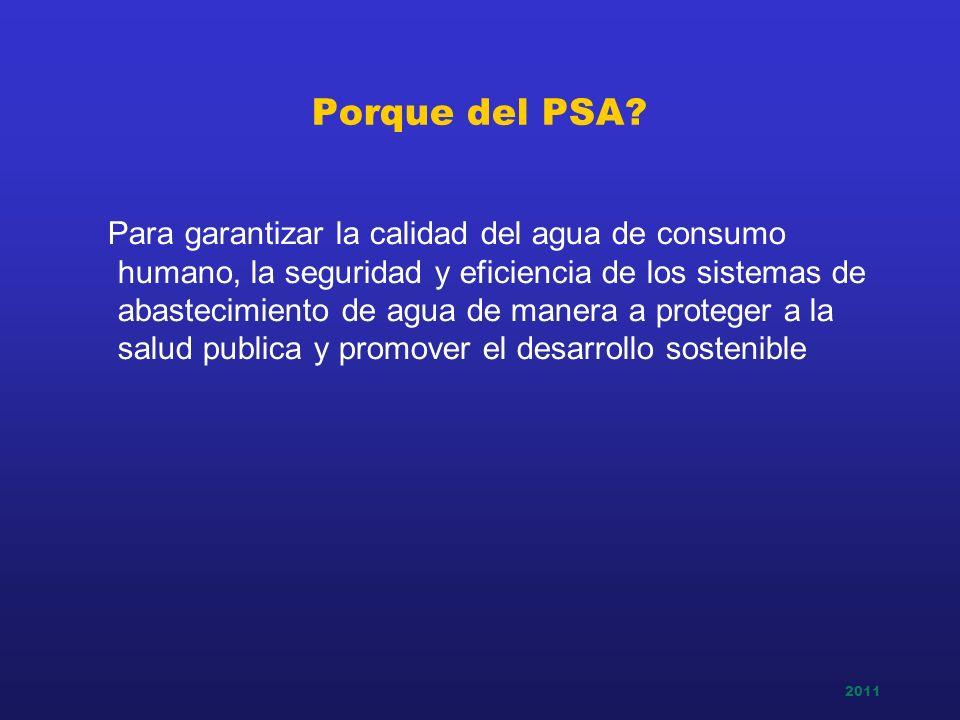 2011 Porque del PSA? Para garantizar la calidad del agua de consumo humano, la seguridad y eficiencia de los sistemas de abastecimiento de agua de man