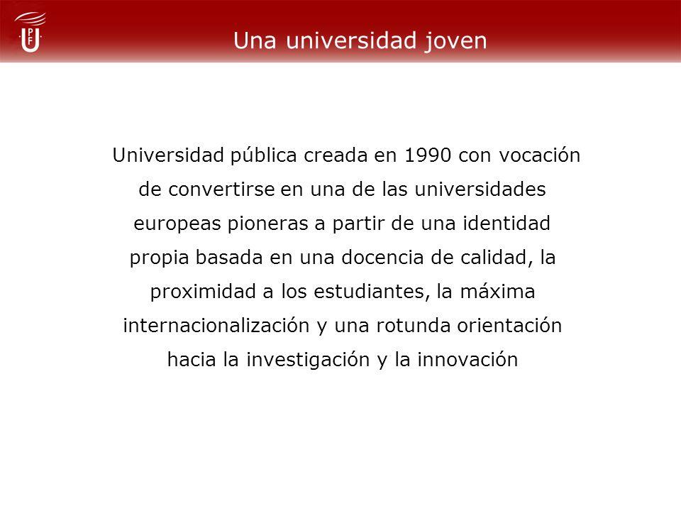 Una universidad joven Universidad pública creada en 1990 con vocación de convertirse en una de las universidades europeas pioneras a partir de una identidad propia basada en una docencia de calidad, la proximidad a los estudiantes, la máxima internacionalización y una rotunda orientación hacia la investigación y la innovación