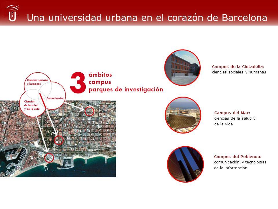 Una universidad urbana en el corazón de Barcelona Campus del Mar: ciencias de la salud y de la vida Campus del Poblenou: comunicación y tecnologías de la información Campus de la Ciutadella: ciencias sociales y humanas