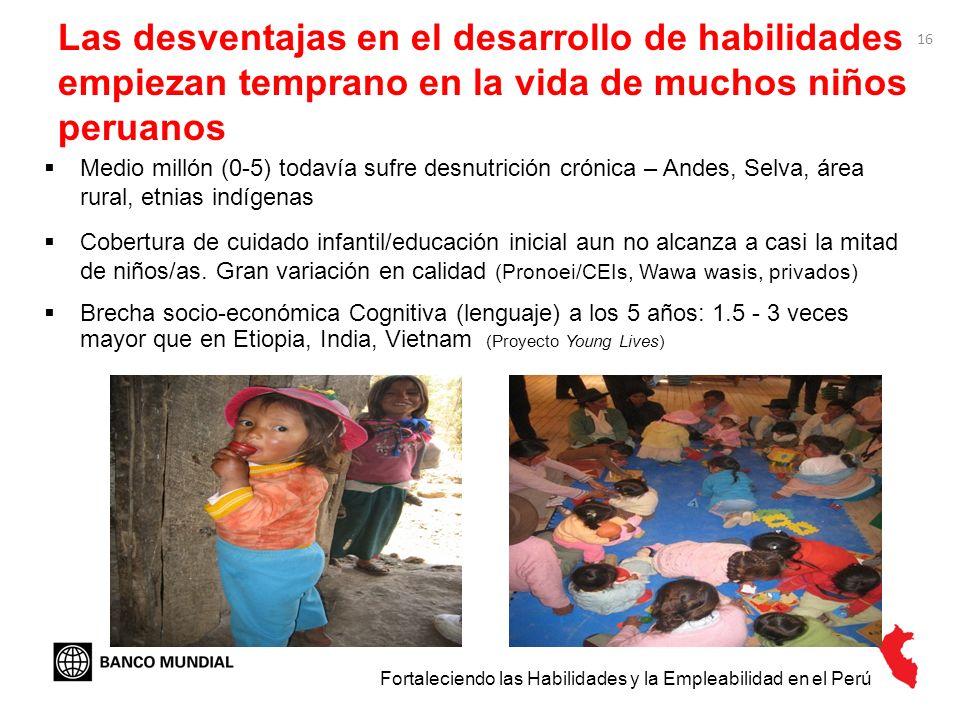 16 Las desventajas en el desarrollo de habilidades empiezan temprano en la vida de muchos niños peruanos Medio millón (0-5) todavía sufre desnutrición