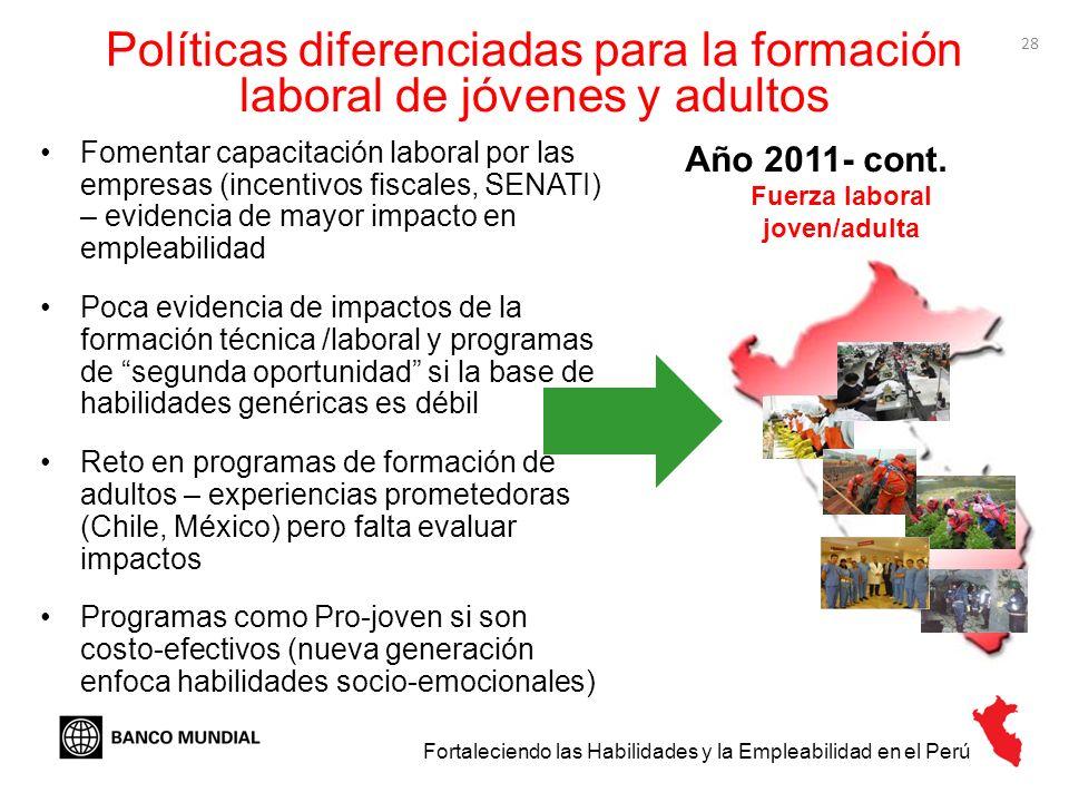 28 Fortaleciendo las Habilidades y la Empleabilidad en el Perú Año 2011- cont. Fuerza laboral joven/adulta Fomentar capacitación laboral por las empre