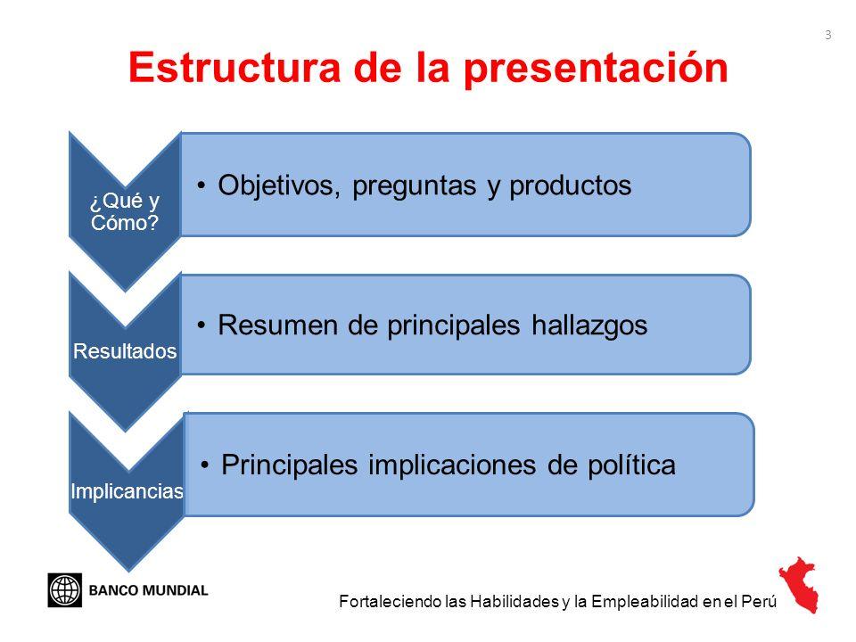 3 Estructura de la presentación ¿Qué y Cómo? Objetivos, preguntas y productos Resultados Resumen de principales hallazgos Implicancias Principales imp