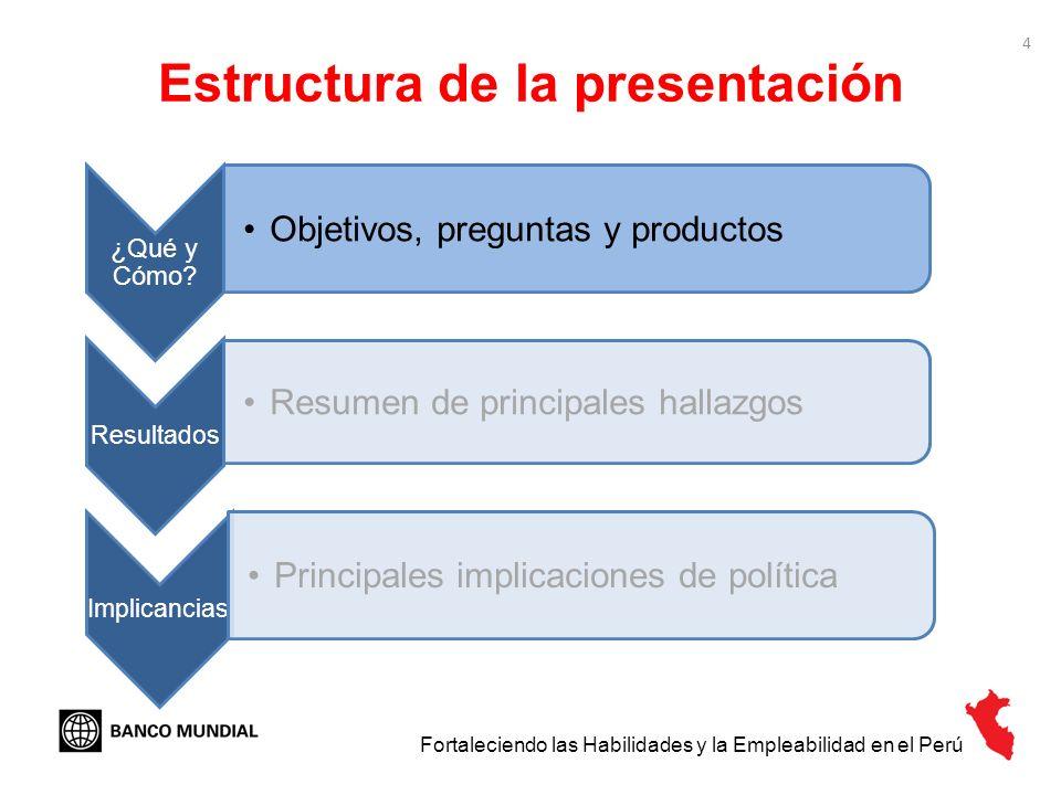 4 Estructura de la presentación ¿Qué y Cómo? Objetivos, preguntas y productos Resultados Resumen de principales hallazgos Implicancias Principales imp
