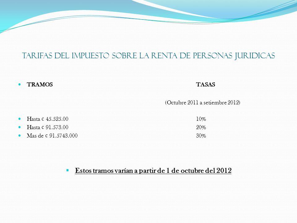 TARIFAS DEL IMPUESTO SOBRE LA RENTA DE PERSONAS JURIDICAS TRAMOSTASAS (Octubre 2011 a setiembre 2012) Hasta ¢ 45.525.0010% Hasta ¢ 91.573.0020% Mas de