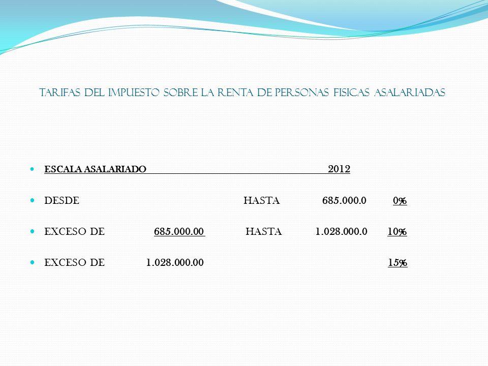 TARIFAS DEL IMPUESTO SOBRE LA RENTA DE PERSONAS FISICAS ASALARIADAS ESCALA ASALARIADO 2012 DESDE HASTA685.000.0 0% EXCESO DE 685.000.00 HASTA 1.028.00
